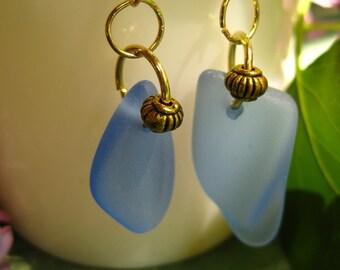 Cobalt Blue tumbled glass earrings TrAsH gLaSs