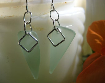 Seafoam green seaglass inspired earrings TrAsH gLaSs recycled