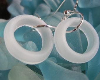 seaglass inspired hoop earrings   TrAsH gLaSs small hoop white