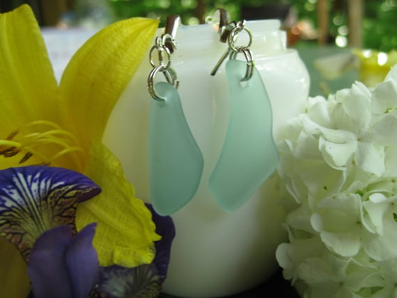 Whimsy Teal glass earrings upcycled and inexpensive nonpeirced