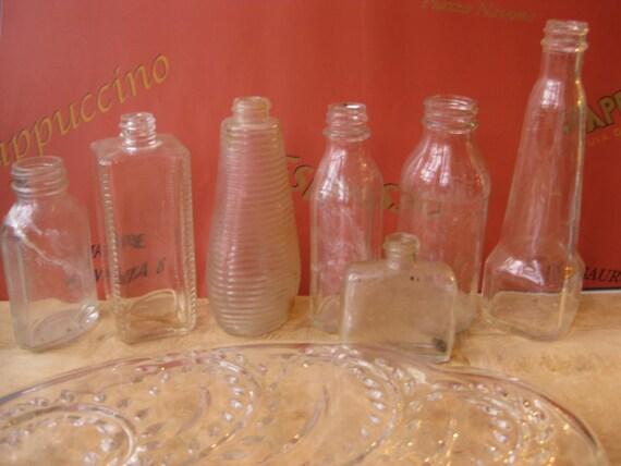 Set of 7 vintage bottles multi vase wedding Centerpiece missmatched clear glass bottles