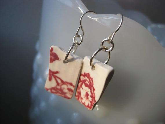 beachglass inspired earrings red and white transferware china TrAsH gLaSs