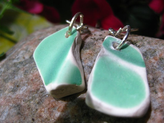 Seaglass inspired aqua china dangle earrings Recycled vintage dishes