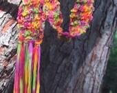 HAND KNIT Skinny SCARF \/ SASH \/ BELT, Novelty RIBBON YARN -I Love Rainbow Sherbet- -JULY HONOR SALE-