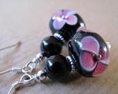SALE Black Onyx and Pink Flower Lampwork Glass Beaded Sterling Silver Earrings - Midnight Dahlia