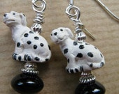 SALE Dalmatian and Black Onyx Bead Sterling Silver Earrings - Bud - BeadedTail