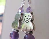 Abby - Kitty Cat and Amethyst Beaded Sterling Silver Earrings