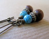 Turquoise and Wood Beaded Antiqued Brass Earrings - Chocolate Desert
