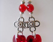 Red Hot Hearts - Crystal Heart Sterling Silver Earrings