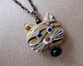 Meow - Lampwork Kitty Cat Face and Black Onyx Beaded 18 inch Antiqued Brass Necklace