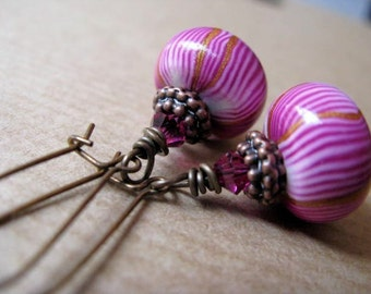 Peppermint - Pink Polymer Clay and Swarovski Crystal Beaded Antiqued Brass Kidney Shaped Earrings