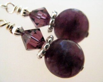 SALE Purple Amethyst and Swarvoski Crystal Sterling Silver Earrings - Plum Crazy
