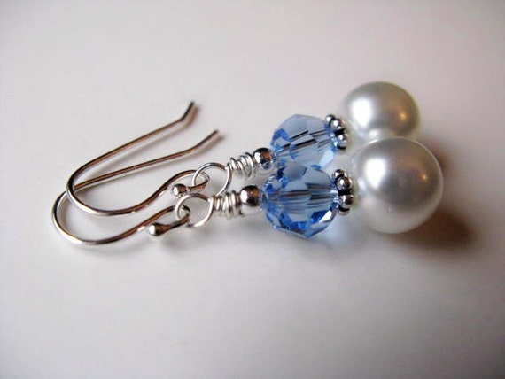SALE Sapphire Swarovski Crystal and Pearls Sterling Silver Earrings - Spring Rain