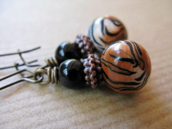 Tiger Striped Polymer Clay and Black Onyx Beaded Antiqued Brass Earrings - Wild at Heart