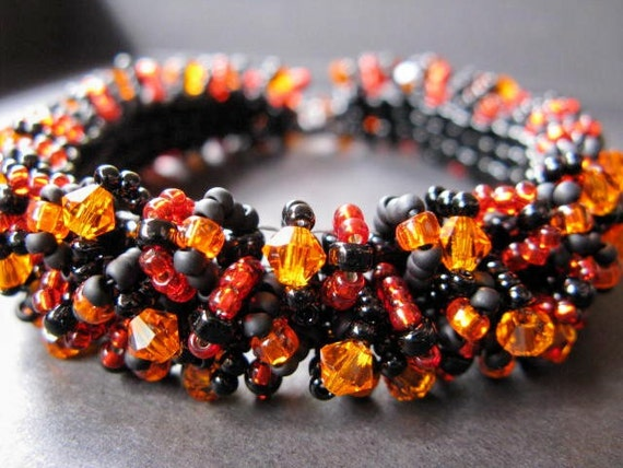 Orange and Black Custom Caterpillar Beadwoven Bracelet - Made Just for You