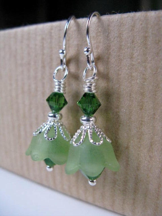 Flowers with Fern Green Swarovski Crystals Beaded Sterling Silver Earrings