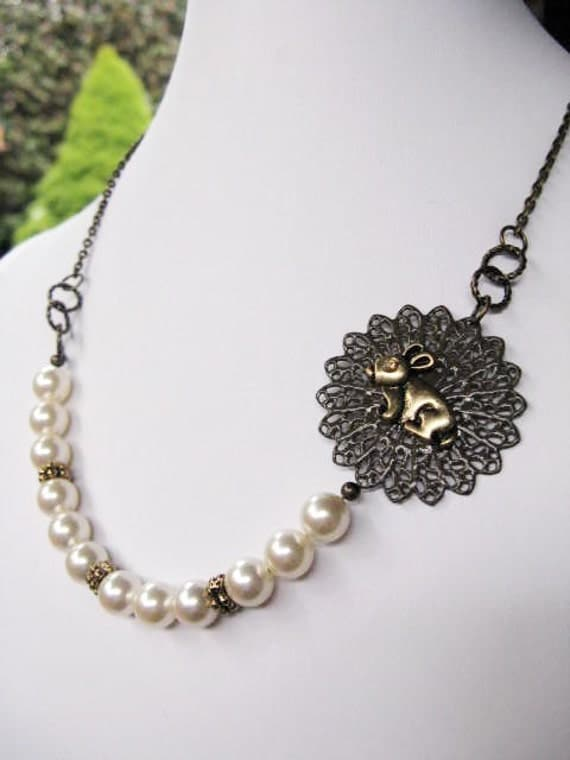 Bunny and Swarovski Pearls Beaded Antiqued Brass Chain Necklace