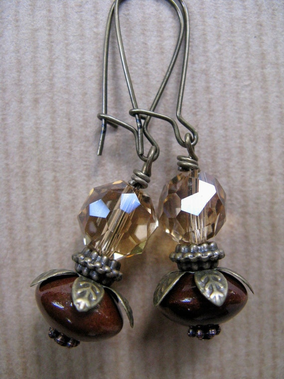 Root Beer - Brown Ceramic and Faceted Glass Beaded Antiqued Brass Earrings