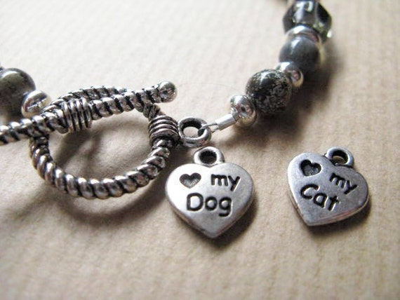 RESERVED for toots88480  Silverleaf Jasper Bracelet with CHOICE of Love My Dog or My Cat Charm