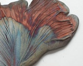 Ginko Leaf in Copper Red Blue Silver Raku Patina
