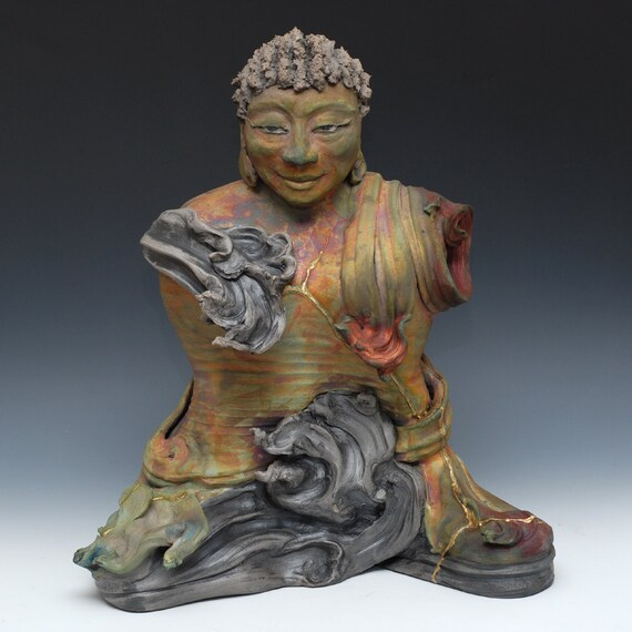 Large Abstract Buddha Statue in Raku Low Fire Ceramics