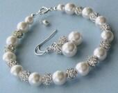 Pearl Jewelry Set, Bridal Pearl Bracelet and Earrings, Crystal Rhinestone Fireball & Pearls Wedding Jewelry Set by JaniceMarie, White Ivory
