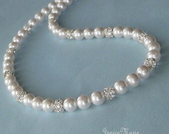 Bridal Pearl Necklace, Bridal Classic Single Strand Pearl and Crystal Rhinestone Necklace, Pearl Necklace for the Bride or Mother of Bride