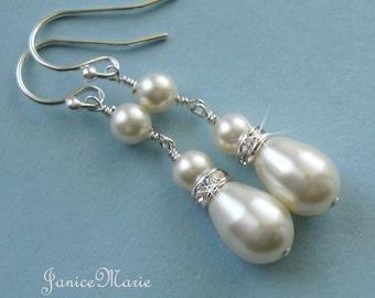 Bridal Long Drop Pearl Earrings - Pearl Drop Earrings - Ivory or White Pearl Bridal Earrings - Wedding Jewelry for the Bride by JaniceMarie