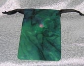 SALE Green Batik Zils Purse with Crystal
