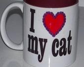 Custom Printed 11 oz  I Love My Cat Mug