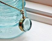 Locket - Round Brass Double Sided Glass Pendant