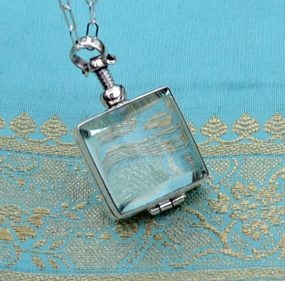 Glass Square Photo Locket - Sterling Silver -  Necklace
