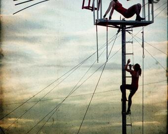 Blue Gold Circus Photograph--Skyclimber--Fine Art