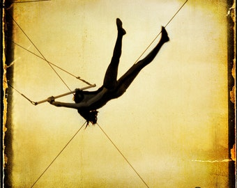 Gold Circus Trapeze Silhouette Photograph--Just Like Flying--Fine Art
