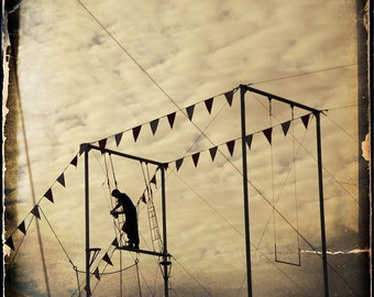 Circus Trapeze Silhouette Photograph--Two to Get Ready... --Fine Art