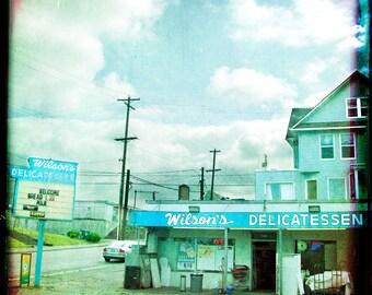 Turquoise Urban Photograph--Wilson's Delicatessen--Fine Art