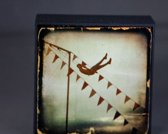 Blue Gold Silhouette Trapeze Circus Photograph on Wood Panel--The Daring Young Man--4x4 Fine Art