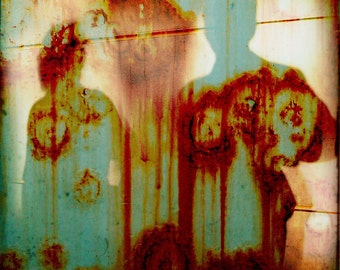 Green Cyan Rust Shadows Photograph--Shadows on Rust--Fine Art