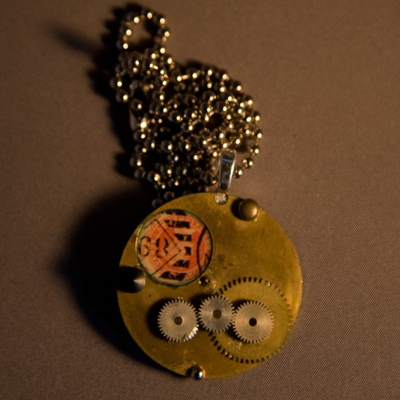 Cool Steampunk 3 Gear Watch parts Pendant on Ball Chain