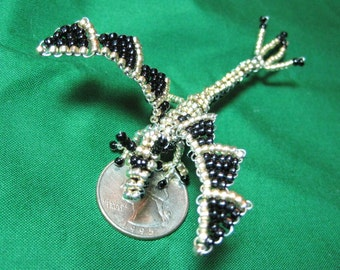 Gold and Black Beaded Dragon Miniature Sculpture