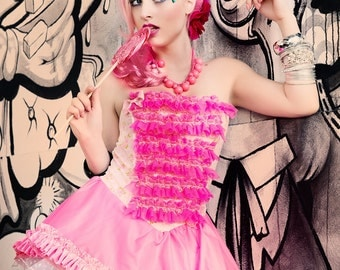 Japanese Fashion Harajuku Decora Girl KPop Kawaii Fairy Kei Strapless Bustier Prom Dress in Cotton Candy Pink with Ruffles by Janice Louise