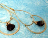 Gold Plated Chandelier Earrings with Faceted Smokey Quartz Briolette