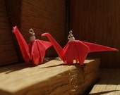 Mini Origami Dinosaur Earrings on Sterling Silver Chains