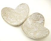 Valentine Heart Dishes Set of Two in White Lace