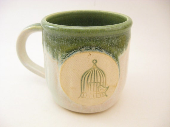 Coffee Mug Green and White with Bird in Cage Stamp