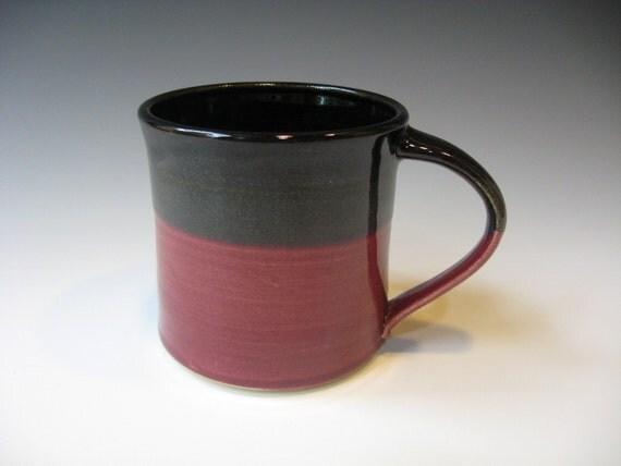 Coffee Mug, Ceramic Black and Red