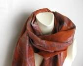 Felted Scarf Shawl Wool Silk Rust Soft Light