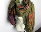 Felted Scarf Wool Silk Shawl Nuno Earth Colors Green Brown Burgundy Pink Flower