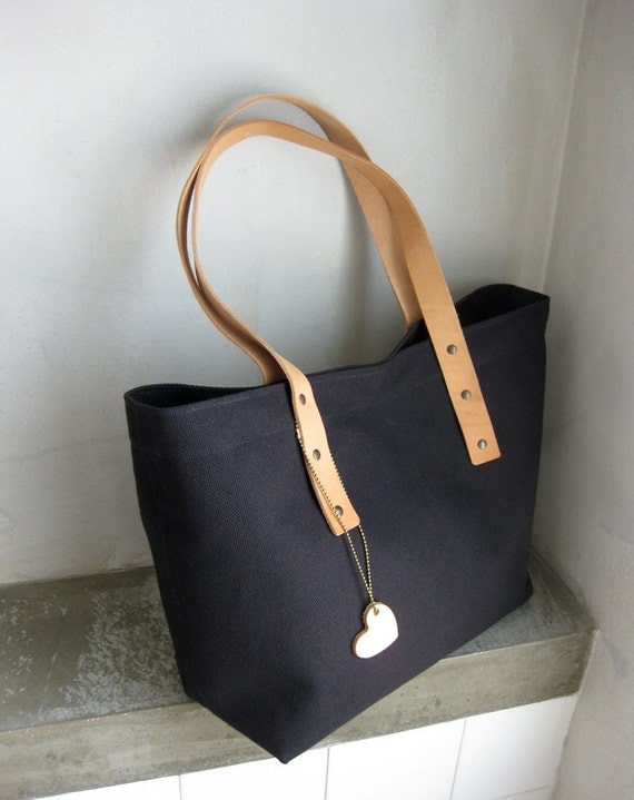 Bag Tote Canvas Black with Leather Straps