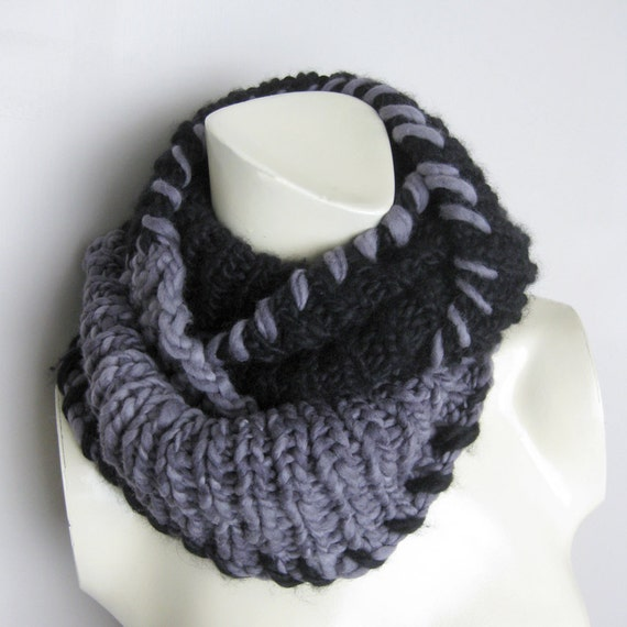 SALE Hand Knitted Chunky Scarf Black Grey Loop Unisex